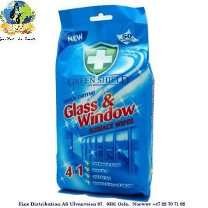 Green Shield Wipes Glass & Window Surface 50stk